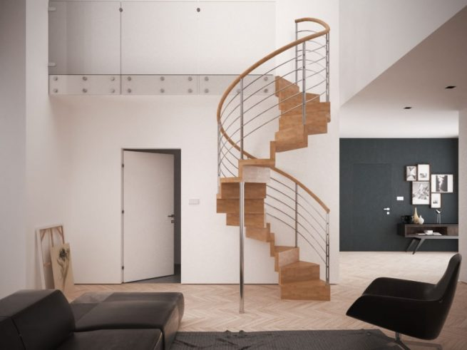 Escalera helicoidal de madera sin estructura central