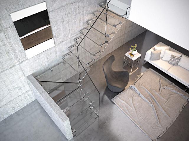 Escalera recta con giro de 90º totalmente de cristal