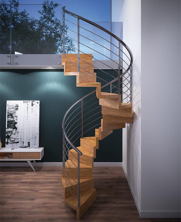 Escalera helicoidal de madera sin estructura