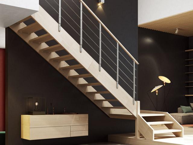 Escalera recta de doble zanca de madera
