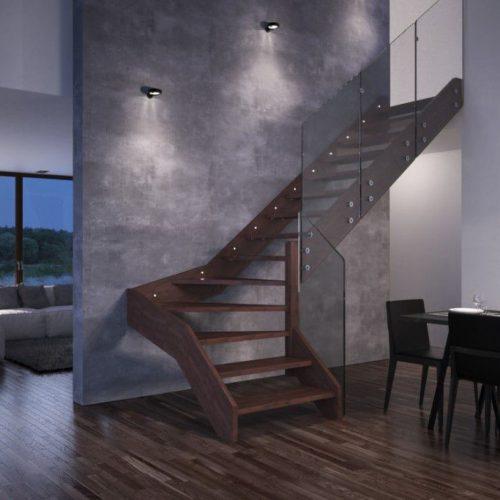 Escalera minimalista de madera con barandilla de cristal
