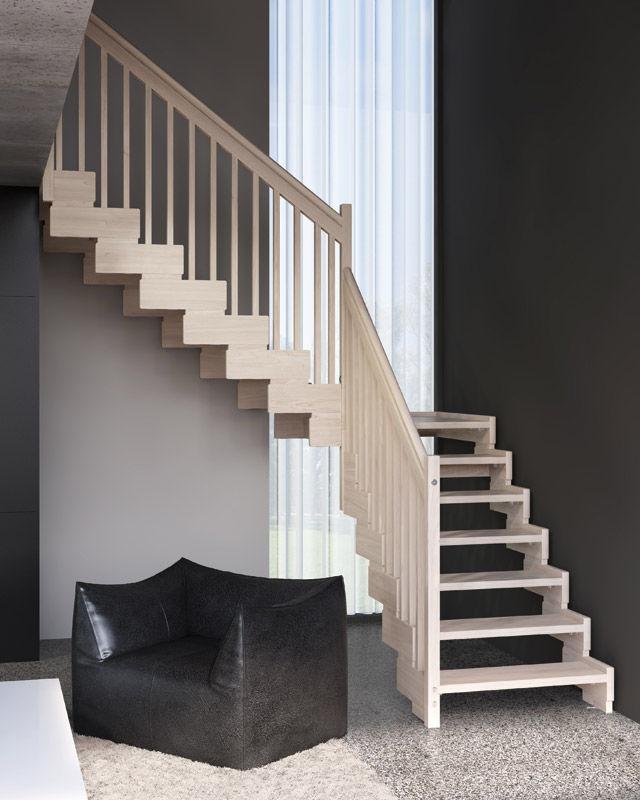 Escalera minimalista tradicional de madera