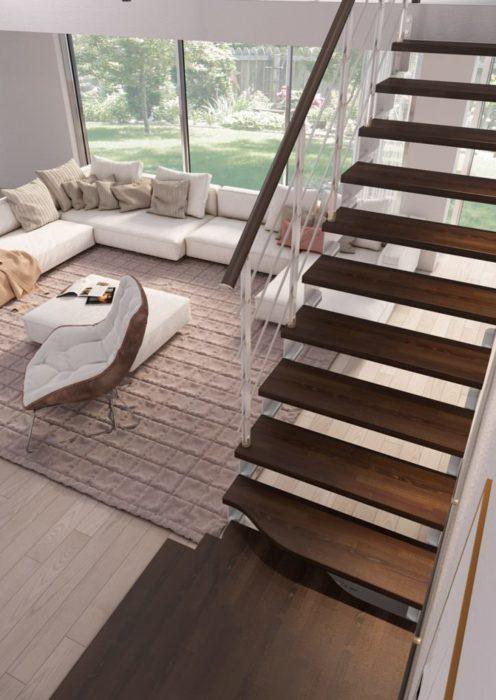 Vista aérea de escalera recta de madera con giro