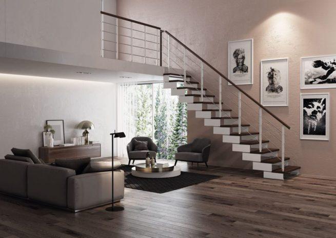 Escalera recta con peldaños de madera