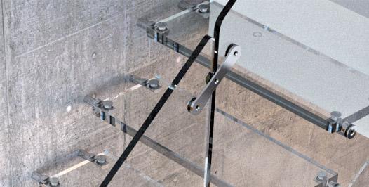 Detalle unión de barandilla de vidrio