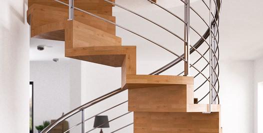 Detalle escalera helicoidal con huella y contrahuella de madera