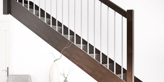 Escalera recta de madera estilo clásico