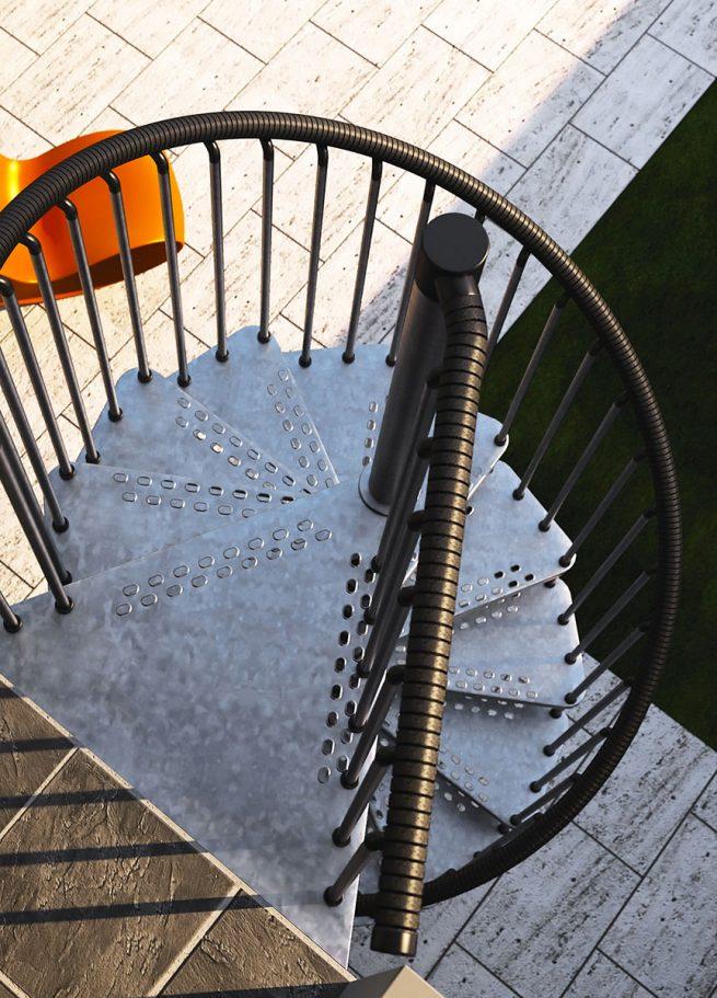Vista aérea de escalera de caracol galvanizada con peldaños perforados