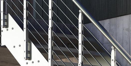 Detalle barandila de acero inoxidable para exterior