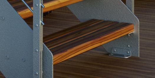 Detalle zanca galvanizada con listones de madera de iroko