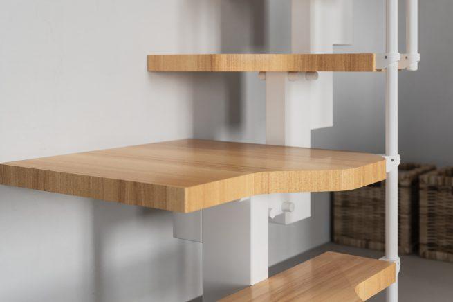 GIro con meseta de escalera para espacios reducidoss
