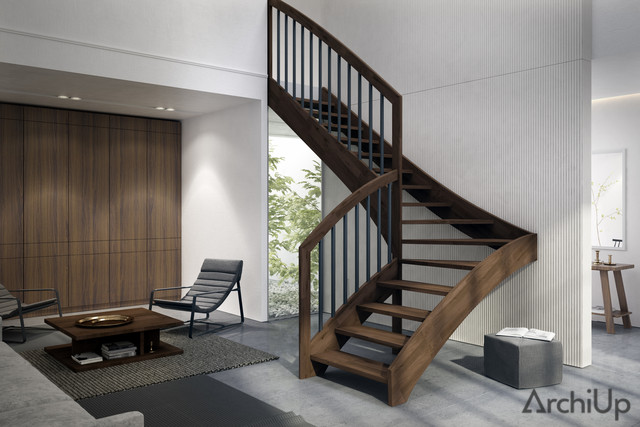 Escalera moderna minimalista de madera