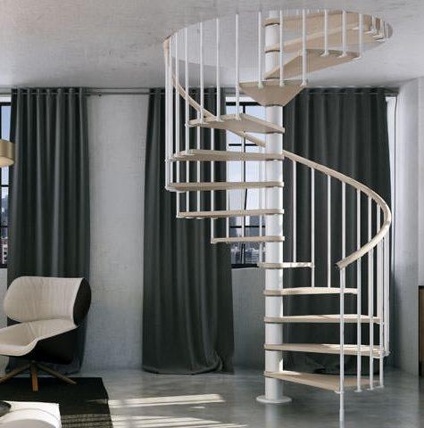 Escalera de acero lacado y madera natural