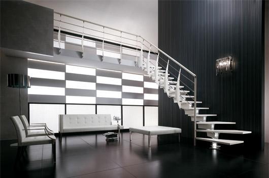 Escalera recta moderna con giro de 90º
