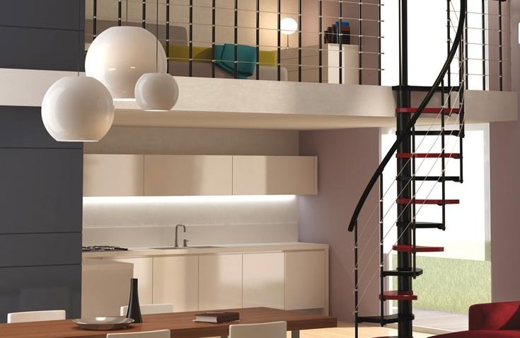 Escalera de diseño de madera y acero para espacios reducidos