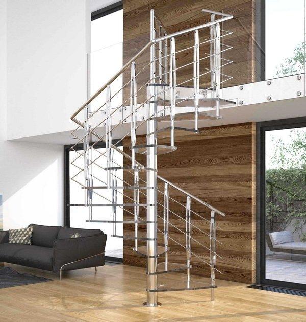 Escalera de caracol de vidrio de planta cuadrada