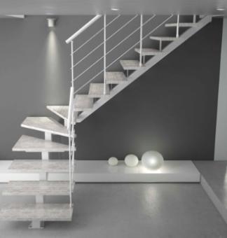 Escalera monoviga con peldaños de madera blanca