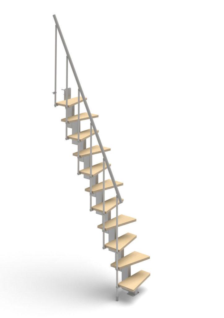 diseño escalera recta para espacios pequeños