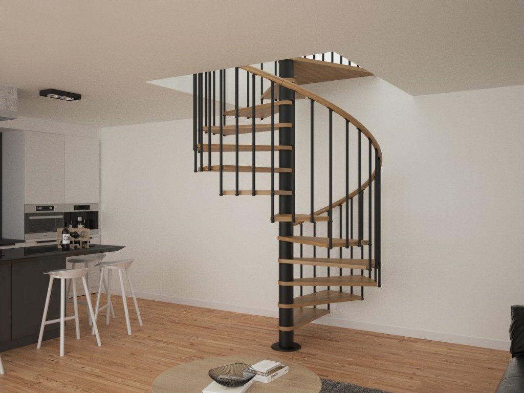 Escalera de caracol con peldaños y pasamanos de madera