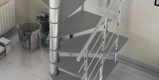 Escalera de caracol metálica de planta cuadrada