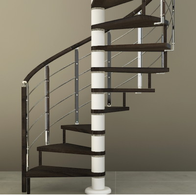 Escalera de caracol de madera y acero