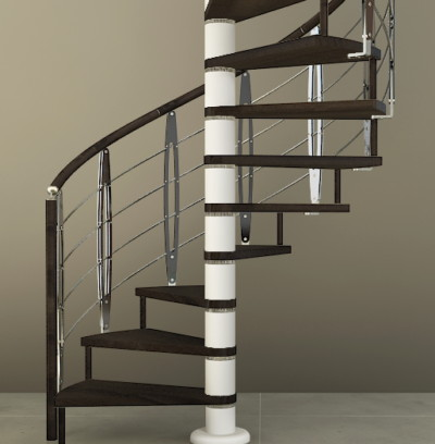 Escalera de caracol de madera con barandilla moderna