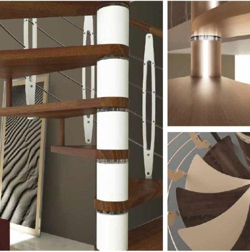 Detalle peldaños de madera curvos y separadores de acero lacado
