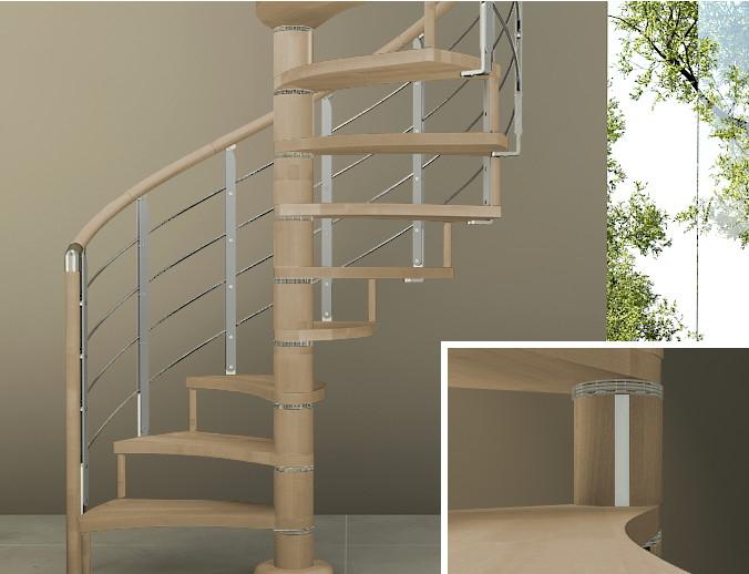 Escalera de peldaños curvos totalmente de madera natural